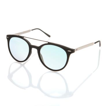 Occhiale sole uomo con montatura acetato nera aste metallo lenti specchiate