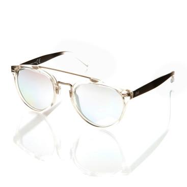 occhiale sole uomo con montatura acetato bianco aste marroni lenti specchiate