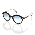 occhiale sole uomo montatura nera acetato lenti azzurre specchiate